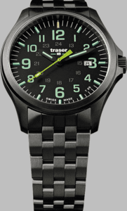 Traser P67 Officer Pro GunMetal Lime Watch with Gunmetal Strap