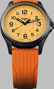 Traser P67 Officer Pro GunMetal Orange Watch with Rubber Strap