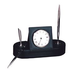 Buddy 9231 Roma Desk Clock with Double Pen Stand