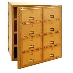 Commercial 2008FL 8 Door Brass Mailbox with Front Loading