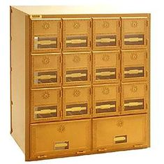 Commercial 2014RL 14 Door Brass Mailbox with Rear Loading