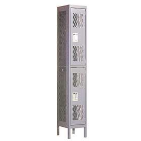 Locker 72162 Double Tier 1 Wide 6 Feet High 12 Inches Deep Vented Lockers