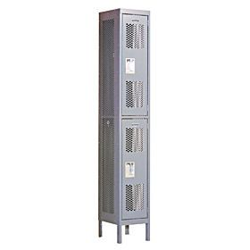 Locker 72165 Double Tier 1 Wide 6 Feet High 15 Inches Deep Vented Lockers