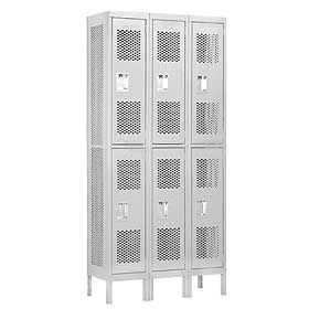 Locker 72362 Double Tier 3 Wide 6 Feet High 12 Inches Deep Vented Lockers