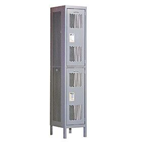 Locker 82165 Double Tier 1 Wide 6 Feet High 15 Inches Deep Extra Wide Vented Lockers