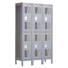 Locker 82365 Double Tier 3 Wide 6 Feet High 15 Inches Deep Extra Wide Vented Lockers