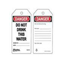 Master Lock S4010 Safety Tag Do Not Drink This Water