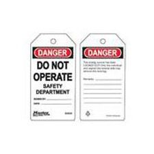Master Lock S4020 Safety Tag do not operate safety department