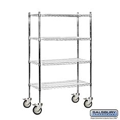 """Residential 9534M-CHR Includes 4 Posts with 5"""" Locking Casters and 4 Wire Shelves"""