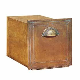 Residential Antique Brass Column Mailbox Recessed Mounted