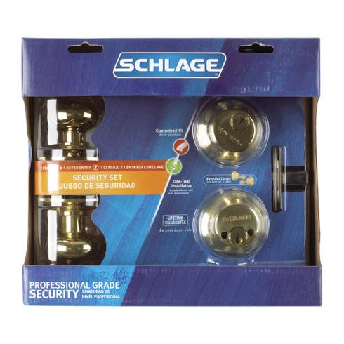 Schlage Door Locks Keyed Entry and Double Cylinder Deadbolt (FB352NVPLY505)