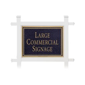 Signage 1511 Large Commercial Rectangular Sign with White Post Mounted
