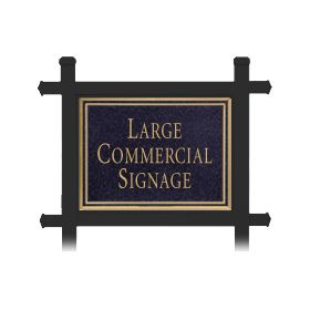 Signage 1512 Large Commercial Rectangular Sign with Black Post Mounted