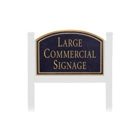 Signage 1521 Large Commercial Arched Sign with White Post Mounted