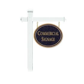 Signage 1531 Large Commercial Oval Sign with White Post Mounted