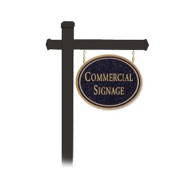 Signage 1532 Large Commercial Oval Sign with Black Post Mounted
