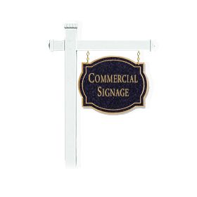 Signage 1541 Large Commercial Classic Sign with White Post Mounted