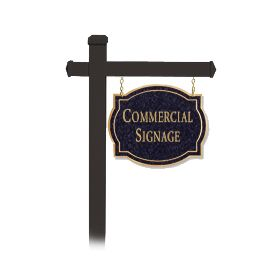 Signage 1542 Large Commercial Classic Sign with Black Post Mounted