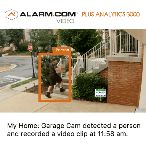 2GIG Residential Home Video Surveillance Plus Analytics 3000 Services (Powered by Alarm.com)