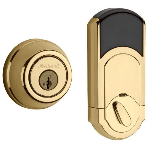99100-061 - Kwikset Signature Series 910 Traditional Round Door Deadbolt (w/Z-Wave Plus 500-Chipset in Polished Brass Finish)