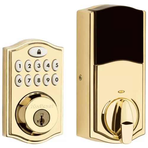 99140-022 - Kwikset SmartCode 914 Door Deadbolt (w/Z-Wave Plus 500-Chipset in Polished Brass Finish)