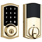99160-019 - Kwikset SmartCode 916 Touchscreen Door Deadbolt (w/Z-Wave Plus 500-Chipset in Polished Brass Finish)