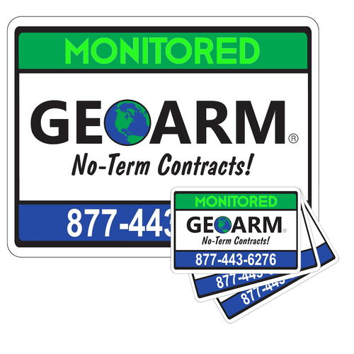 GeoArm� Home Security Sign and 3-Pack Stickers Combo
