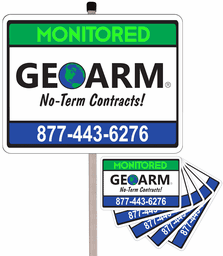 GeoArm® Home Security Yard Sign (w/Metal Post and 5-Stickers Combo)