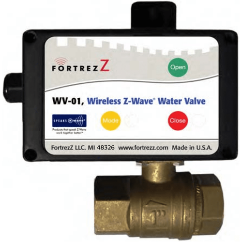 "WV01LFUS075 - FortrezZ Z-Wave Automated Water Shut Off Valve (3/4"" Brass)"