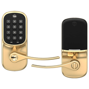 YRD216ZW2-605 - Yale Assure Lever Pushbutton Keypad Deadbolt (w/Z-Wave Plus in Bright Brass Finish)