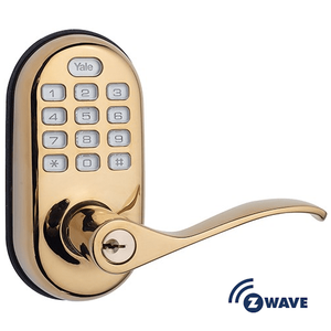 YRL210ZW605 - Yale Z-Wave Push Button Keypad Lever Lock (Brass)