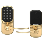 YRL216-ZW2-605 - Yale Assure Lever Pushbutton Keypad Lock (w/Z-Wave Plus in Bright Brass Finish)