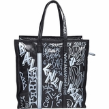 Balenciaga Graffiti Soft Lambskin Leather Bazar Medium Shopping Tote Bag - Black