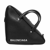 Balenciaga Triangle Duffle Printed Textured Leather Tote - Black