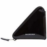 Balenciaga Triangle Patent Leather Coin Purse - Black
