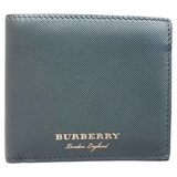 Burberry Bi-Fold Lined Leather Wallet - Dark Green