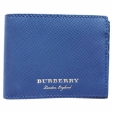 Burberry Bi-Fold Lined Leather Wallet - Navy