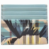 Burberry Flower Check Leather Two-Tone Card Case Wallet - Beige