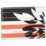 Burberry Flower Stripes Print Card Case Wallet - Multicolor