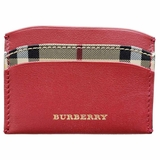 Burberry Izzy Check Print Leather Card Case Wallet - Red