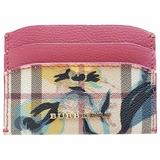 Burberry Izzy Flower Check Print Leather Card Case Wallet - Pink