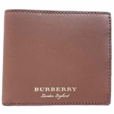 Burberry Leather Bi-Fold Wallet - Brown