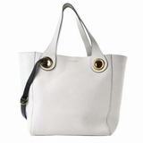 Burberry Leather Grommet Detail Bag - White
