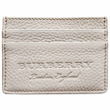 Burberry Leather Logo Card Case Wallet - Beige