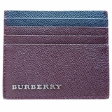 Burberry Leather Two-Tone Card Case Wallet - Burgundy