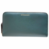 Burberry Leather Two-Tone Zip-Around Wallet - Green