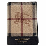 Burberry Leather Vintage Check Folding Card Case Wallet - Beige