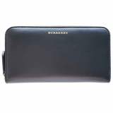 Burberry Leather Zip-Around Wallet - Black