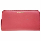 Burberry Leather Zip-Around Wallet - Coral Red