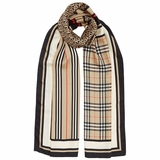 Burberry Monogram, Icon Stripe and Check Print Silk Scarf - Beige
